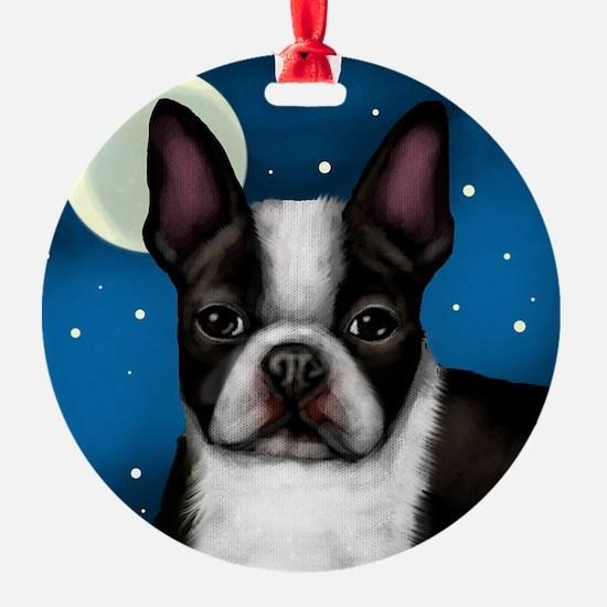 boston terrier moon Ornament