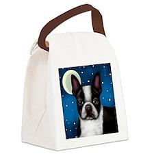 boston terrier moon Canvas Lunch Bag