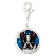 boston terrier moon Silver Round Charm