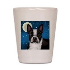boston terrier moon Shot Glass
