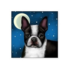 "boston terrier moon Square Sticker 3"" x 3"""