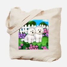 bichon frise garden fence copy Tote Bag