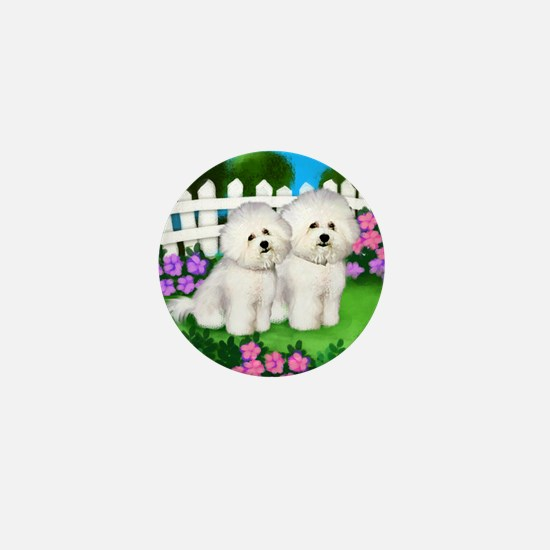 bichon frise garden fence copy Mini Button