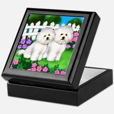 bichon frise garden fence copy Keepsake Box