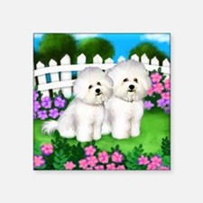 "bichon frise garden fence c Square Sticker 3"" x 3"""