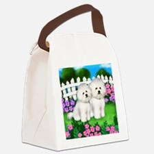 bichon frise garden fence copy Canvas Lunch Bag