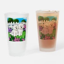 bichon frise garden fence copy Drinking Glass