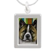 akita 16 copy Silver Portrait Necklace