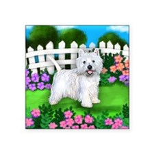 "westie garden Square Sticker 3"" x 3"""