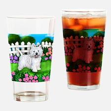 westie garden Drinking Glass