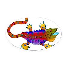 Red & Blue Terror Lizard Oval Car Magnet