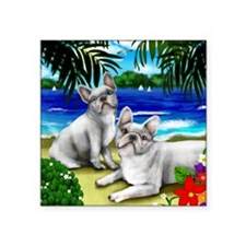 "frenchbulldogbeachwhite cop Square Sticker 3"" x 3"""