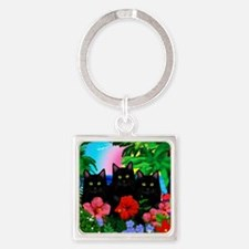 beachparadise bl cats Square Keychain