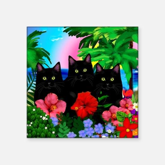 "beachparadise bl cats Square Sticker 3"" x 3"""