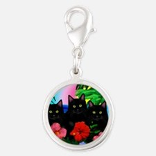beachparadise bl cats Silver Round Charm