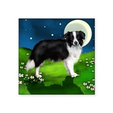 "border collie moon Square Sticker 3"" x 3"""