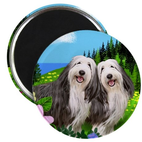 bearded collie moon Magnet