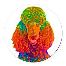 Psychadelic Poodle Round Car Magnet