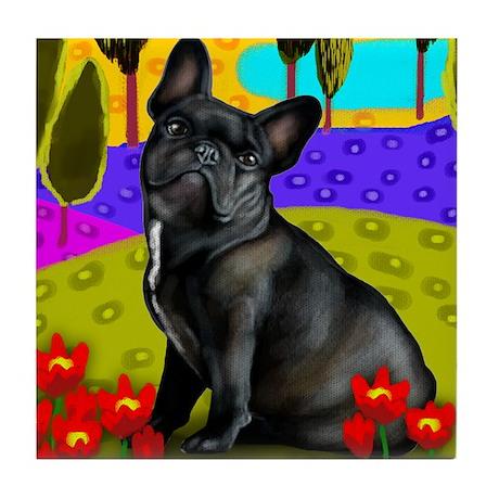 frenchblackbulldog pillow Tile Coaster