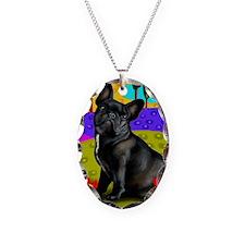 frenchblackbulldog pillow Necklace Oval Charm
