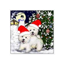 "westie christmas Square Sticker 3"" x 3"""