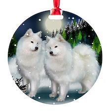samoyed mountinedogs copy Round Ornament
