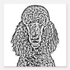 "Poodle Sketch 2 Square Car Magnet 3"" x 3"""