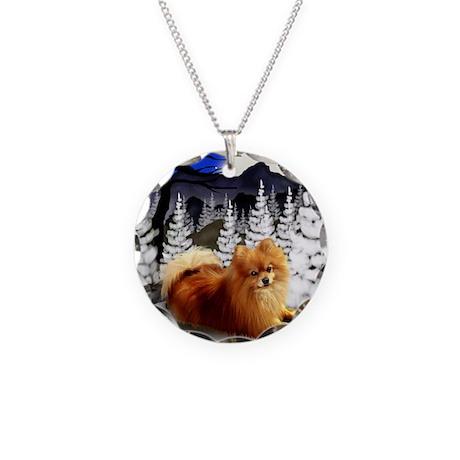 WM POM Necklace Circle Charm