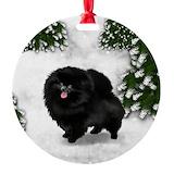 Black pomeranian Round Ornament