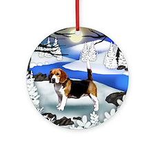 fr beagle Round Ornament