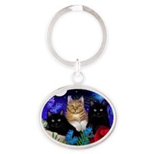 print cats Oval Keychain