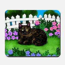 TORTOISESHELL CAT garden Mousepad