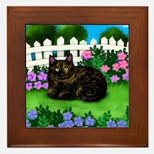 TORTOISESHELL CAT garden Framed Tile