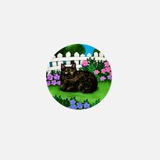 TORTOISESHELL CAT garden Mini Button