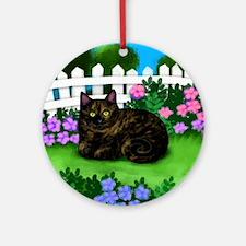 TORTOISESHELL CAT garden Round Ornament