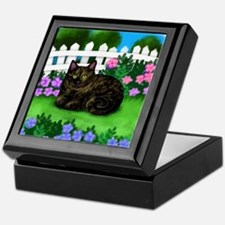TORTOISESHELL CAT garden Keepsake Box