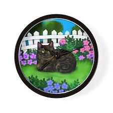 TORTOISESHELL CAT garden Wall Clock