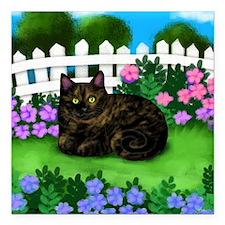 """TORTOISESHELL CAT garden Square Car Magnet 3"""" x 3"""""""