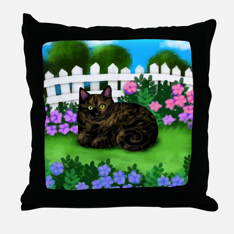 TORTOISESHELL CAT garden Throw Pillow