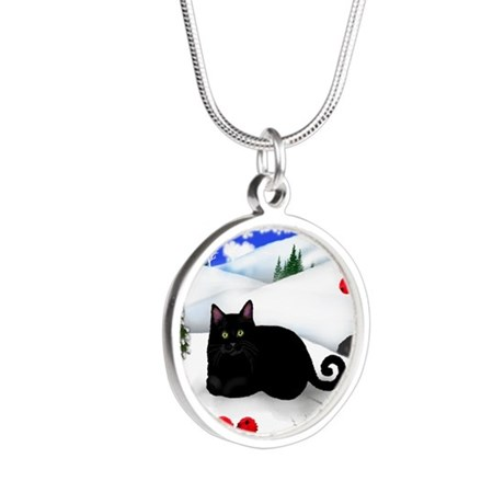 wb bcat Silver Round Necklace