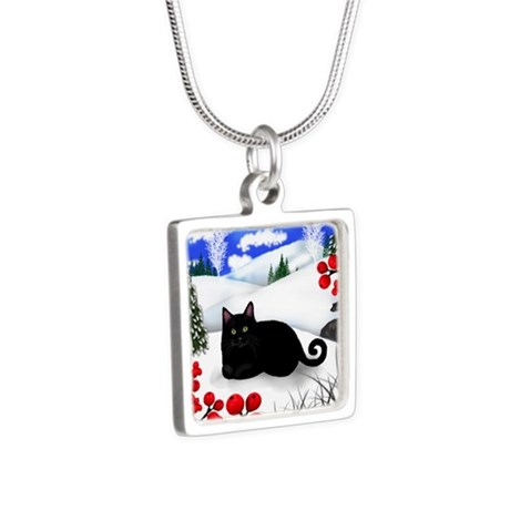 wb bcat Silver Square Necklace