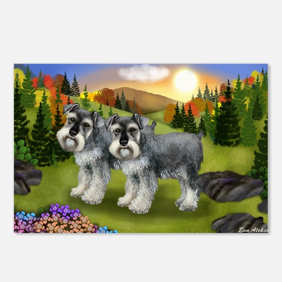 fall schnauzers Postcards (Package of 8)
