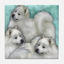 samoyed dogs Tile Coaster