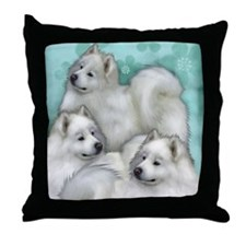 samoyed dogs Throw Pillow