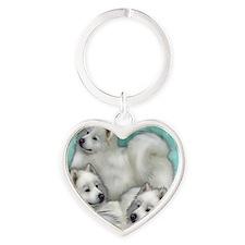 samoyed dogs Heart Keychain