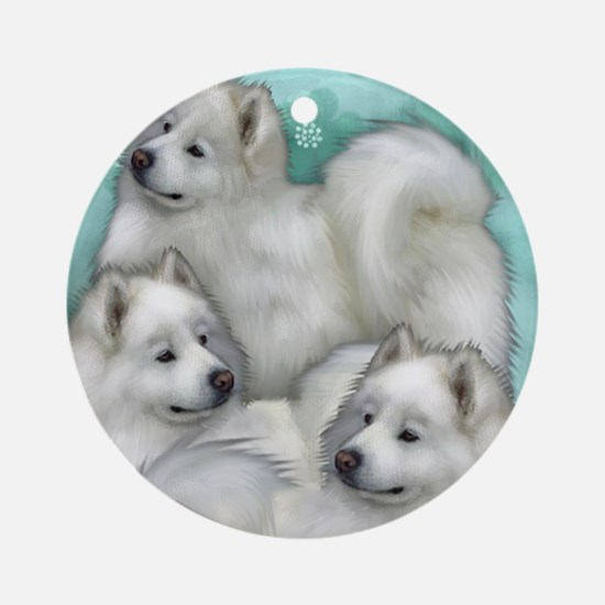 samoyed dogs Round Ornament