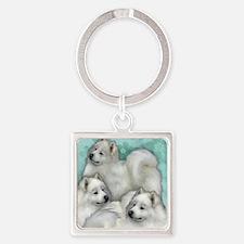 samoyed dogs Square Keychain
