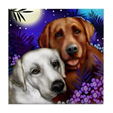 White and Red Labrador Retriever Tile Coaster