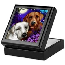 White and Red Labrador Retriever Keepsake Box