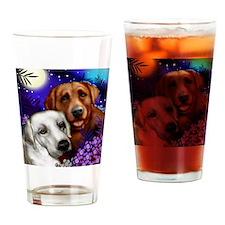 White and Red Labrador Retriever Drinking Glass